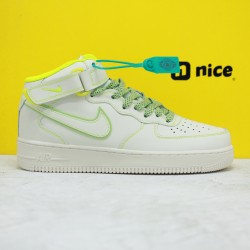 Nike Air Force 1 '07 Mid LV8 3M Green Yellow Mens Sneakers AA1118-012