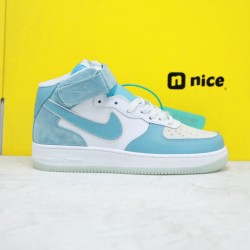 Nike Air Force 1 07 Mid Unisex Sneakers Blue White Mid AO2425-401