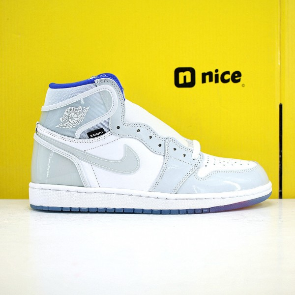 Nike Air Jordan 1 High AJ1 Unisex Basketall Shoes Grey White Bluee CK6637-104