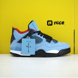 Exclusive Travis Scott x Air Jordan 4 Mens Basketball Shoes Blue 308497-060