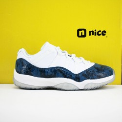 Nike Air Jordan 11 AJ11 Low Mens Basketball Shoes White Snake Skin Blue CD6846 102