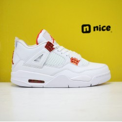 Nike Air Jordan 4 Orange Metallic Mens Basketball Shoes White Orange CT8527-118
