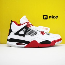 Nike Air Jordan 4 Retro Red AJ4 Mens Basketball Shoes White Red Black 308497 110