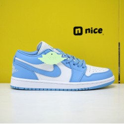 Nike YH Air Jordan 1 Low UNC Unisex Basketball Shoes Skyblue White AO9944-441