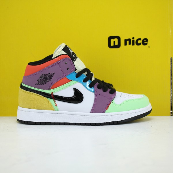Nike AIR JORDAN 1 MID SE Lightbulb Unisex Basketball Shoes White Purple Green CW1140-100