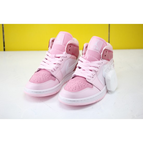 Nike Air Jordan 1 Mid Digital Pink Womens Basketball Shoes Pink CW5379-600 Factory Outlet