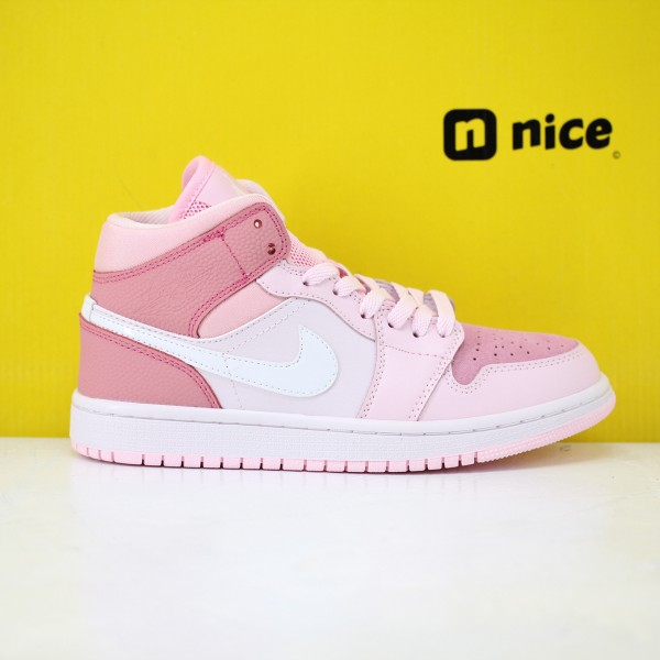 Nike Air Jordan 1 Mid Digital Pink Womens Basketball Shoes Pink CW5379-600