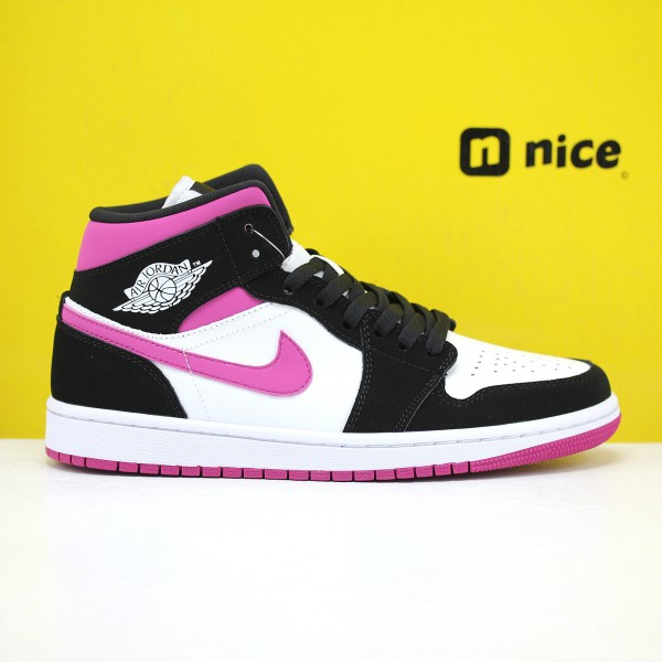 Nike Air Jordan 1 Mid Unisex Basketball Shoes White Black Pink BQ6472 005