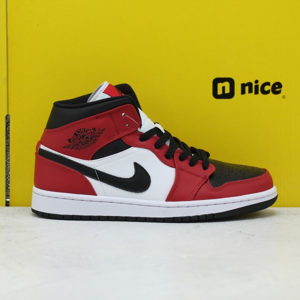 Nike Air Jordan 1 Mid Unisex Basketball Shoes White Red Black 554724-069