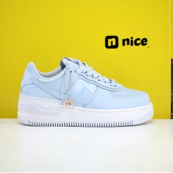 Nike Air Force 1 AF1 Shadow Womens Shoes White Hydrogen Blue Sneakers CV3020-400