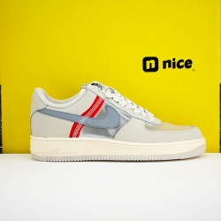 Nike Air Force 1 Low 07 Unisex Shoes Beige Grey Red Sneakers AN3355 061