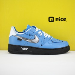 Nike Air Force 1 x OFF WHITE MCA AF1 Unisex Shoes Blue Silver Black Sneakers CJ1639-400