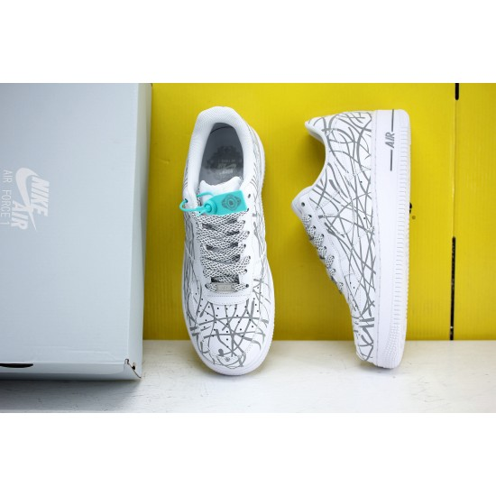 Nike Air Force1 LOW 07 AF1 Unisex Shoes White Silver Glow Sneakers N-0299 Free Shipping