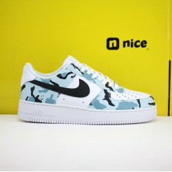 Nike Air Force1 LOW 07RS Mens Shoes Blue Black White Sneakers 315122-BYC