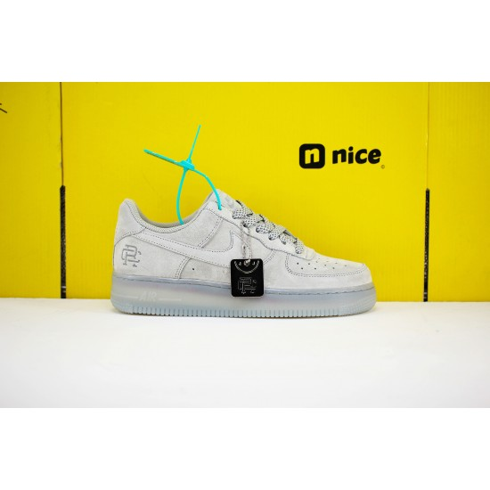 Nike Air Force1 Mid x Reigning Champ Unisex Shoes Light Smoke Gray Sneakers AA1117-118