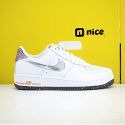 Nike Air Force 1 07 Low AF1 Unisex Shoes White Silver Sneakers DB1558 100