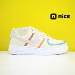 Nike Air Force 1 07 Low AF1 Womens Shoes White Blue Yellow Sneakers CK6572-700