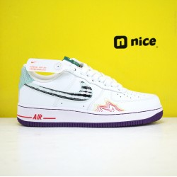 Nike Air Force 1 07 Unisex Shoes White Green Black Sneakers AF1 CW6015 100