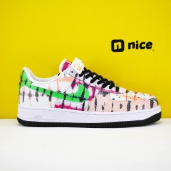 Nike Air Force 1 Low Black Tie Dye Unisex Shoes White Pink Green Sneakers CW1267-101