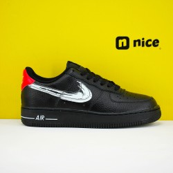 Nike Air Force 1 Low Unisex Shoes Black Silver Red Sneakers DA4657-001