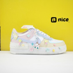 Nike Wmns Air Force 1 Shadow Womens Shoes Pink Blue White Sneakers CI0919-106