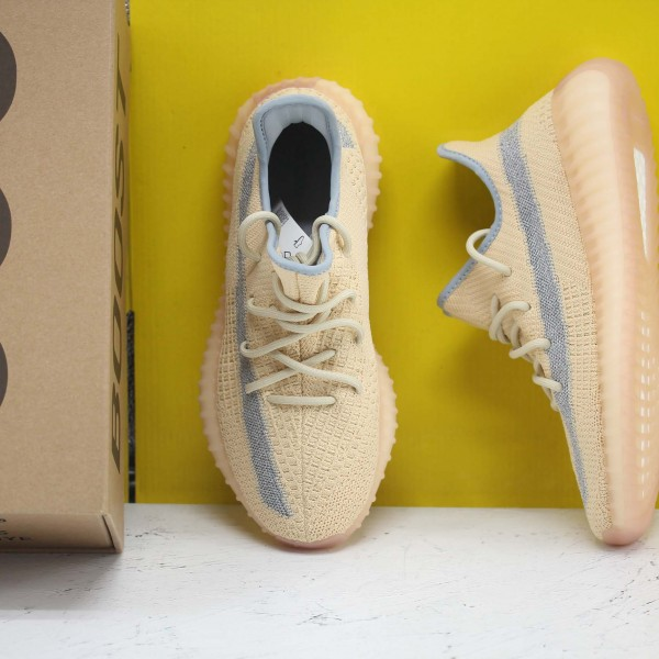 "Adidas Yeezy Boost 350 V2 ""Linen"" Yellow/Ltblue Fresh Shoes Unisex Sneakers FY5158"