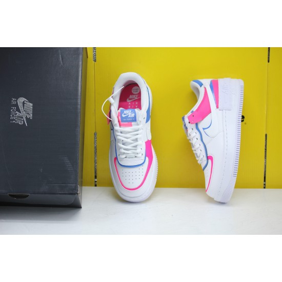 Nike WMNS Air Force 1 Shadow Cotton Candy White/White-White-Hyper Pink Fresh Shoes CU3012 111 Womens Sneakers Factory Outlet