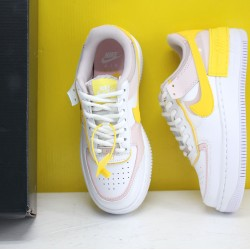 Nike WMNS Air Force 1 Shadow White/Pink/Yellow Fresh Shoes CJ1641 102 AF1 Sneakers