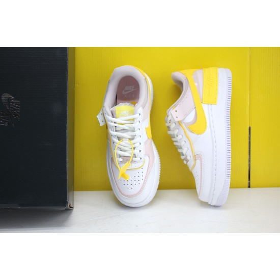 Nike WMNS Air Force 1 Shadow White/Pink/Yellow Fresh Shoes CJ1641 102 AF1 Sneakers Factory Outlet
