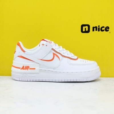 "Nike WMNS Air Force 1 Shadow ""Total Orange"" White/Summit White-Total Orange Fresh Shoes CI0919 103 Womens Sneakers"