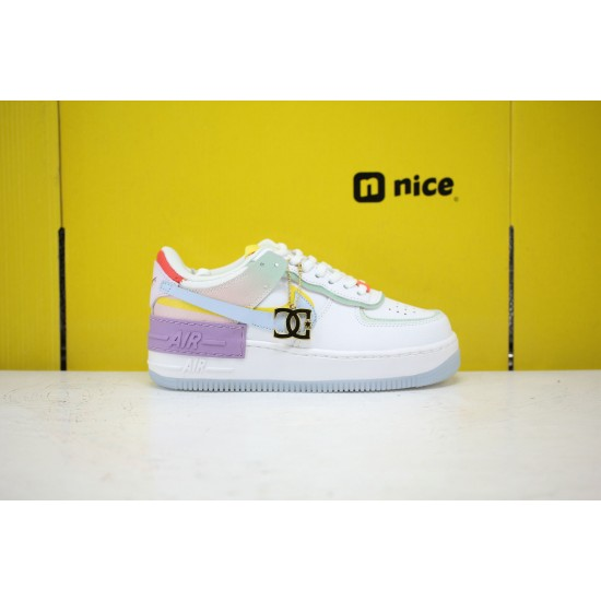 Nike WMNS Air Force 1 Shadow White Hydrogen Blue Purple White/Hydrogen Blue-Purple Fresh Shoes CW2630 141 Sneakers For Sale