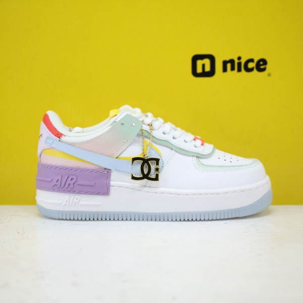 "Nike WMNS Air Force 1 Shadow ""White Hydrogen Blue Purple"" White/Hydrogen Blue-Purple Fresh Shoes CW2630 141 Sneakers"