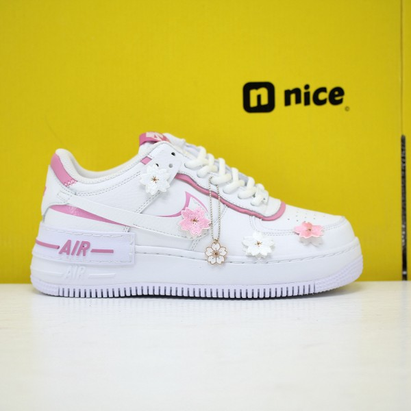 "Nike WMNS Air Force 1 Shadow ""White Magic Flamingo"" White/White-Magic Flamingo-White Fresh Shoes CI0919 102 Sneakers"