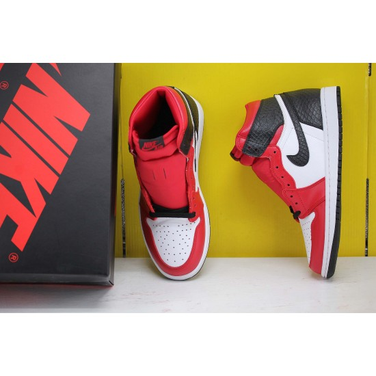 Nike Air Jordan 1 WMNS Satin Snake Basketball Shoes CD0461 601 Unisex White/Red/Black AJ1 Sneakers Factory Outlet