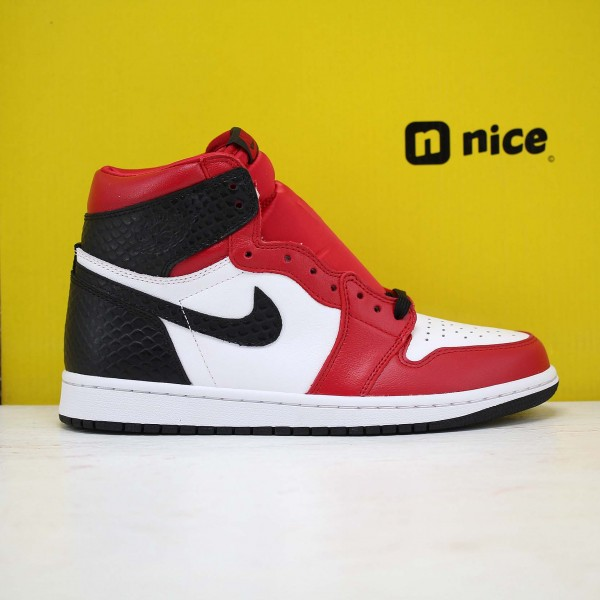 "Nike Air Jordan 1 WMNS ""Satin Snake"" Basketball Shoes CD0461 601 Unisex White/Red/Black AJ1 Sneakers"