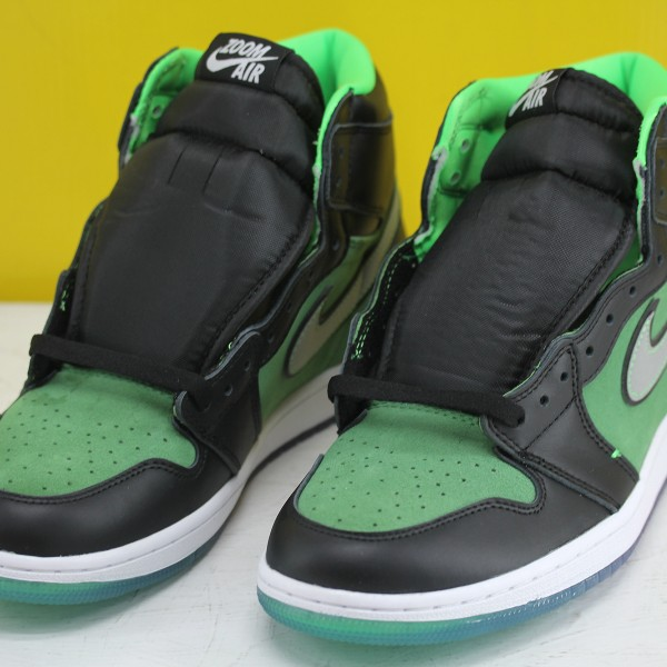 "Nike Air Jordan 1 High Zoom ""Rage Green"" Basketball Shoes Black/Green Unisex AJ1 Sneakers CK6637-002"