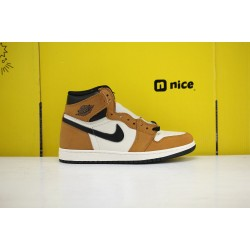 Nike Air Jordan 1 High Basketball Shoes Brown/White Unisex AJ1 Sneakers 555088-700